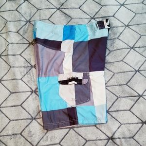 Blue/grey/white Hurley board shorts